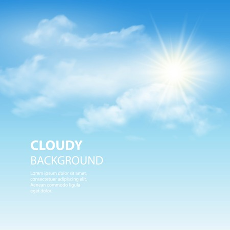 Blauwe hemel achtergrond met kleine wolken. Vector illustratie EPS 10