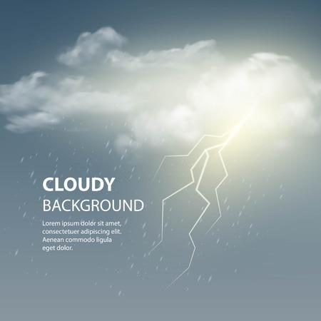 thunder storm: Thunderstorm Background With Cloud and Lightning, Vector Illustration.