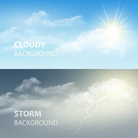 dia soleado: Truenos y relámpagos, el sol y las nubes. Tiempo de fondo. Ilustración vectorial