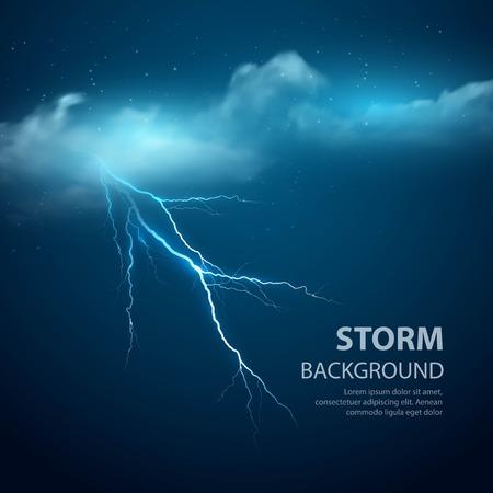 Burza Tło z chmury i błyskawice, ilustracji wektorowych.