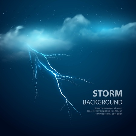 meteo: Sfondo Temporale con nuvole e fulmini, illustrazione vettoriale.