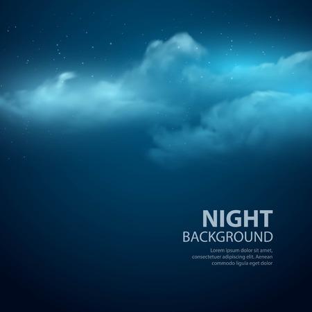 ciel avec nuages: Nuit ciel abstrait. Vector illustration Illustration
