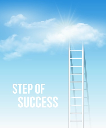 heaven: Cloud stair, the way to success in blue sky. Vector illustration