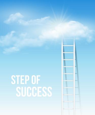 cielo: Escalera de la nube, el camino hacia el éxito en el cielo azul. Ilustración vectorial