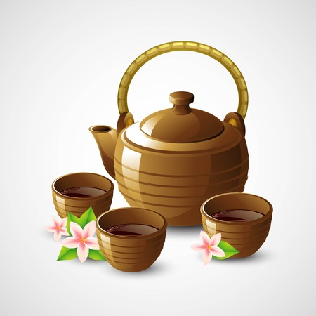 tea table: Teapot and cups. Vector illustration EPS 10 Illustration