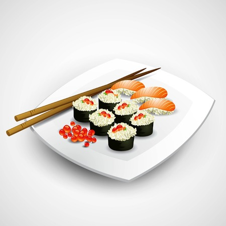 plate of food: Sushi plate. Food. Vector illustration EPS 10