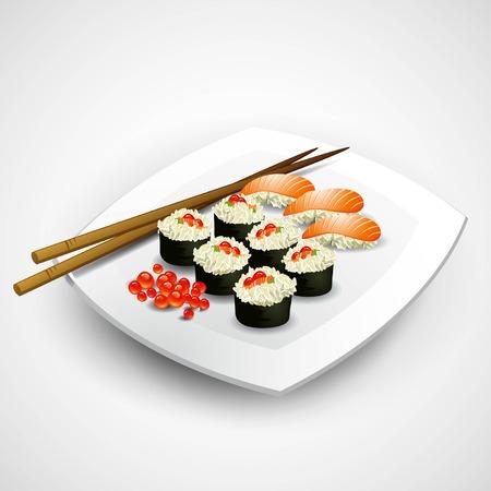 sushi  plate: Sushi plate. Food. Vector illustration EPS 10