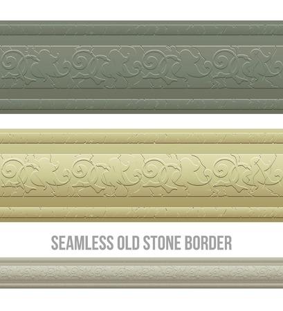 frise: Set of seamless borders stone marble. Vector illustration EPS 10 Illustration