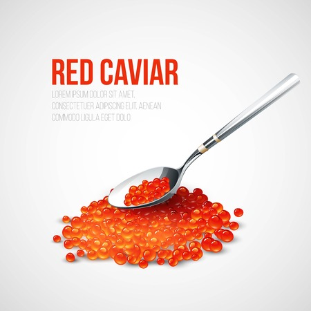 caviar: Red caviar in a spoon over blue background. Vector illustration EPS 10