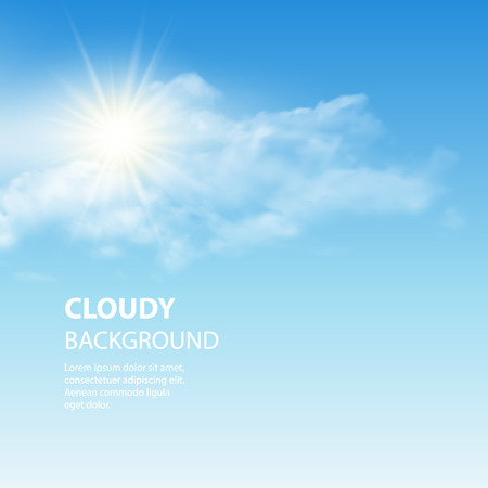 Blue sky background with tiny clouds. Vector illustration EPS 10 Иллюстрация