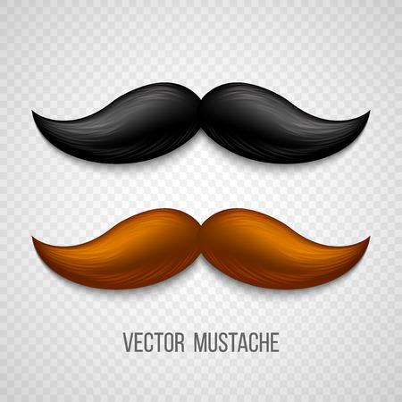 bigote: Brown, bigotes aislado negro ajustado. Ilustraci�n del vector EPS 10