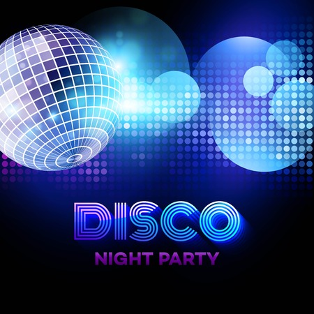 nightclub: Disco background with discoball. Vector illustration
