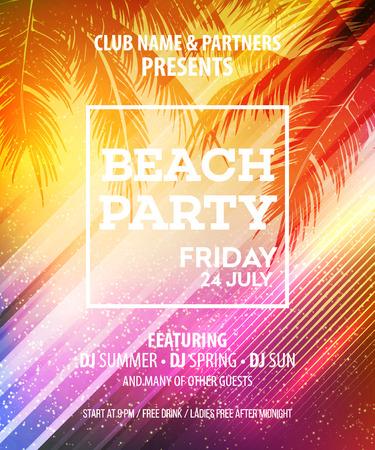 夏のビーチ パーティーのベクター チラシ テンプレート。  イラスト・ベクター素材