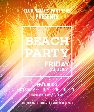 event party: Summer Beach Party Vector Flyer Template.