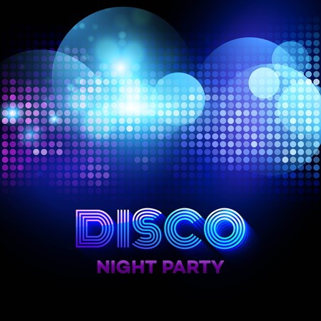 black background abstract: Disco background with discoball. Vector illustration