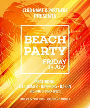 Summer Beach Party Vector Flyer Template.