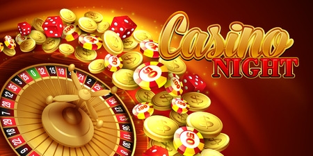 Casino background with chips, craps and roulette. Vector illustration