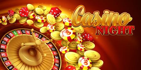 rueda de la fortuna: Fondo del casino con fichas, dados y ruleta. Ilustración vectorial