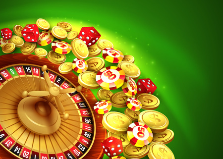 casino wheel: Casino background with chips, craps and roulette. Vector illustration
