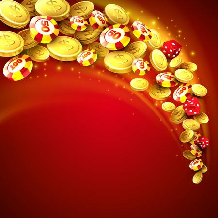 roulette: Sfondo casinò con chip, dadi e denaro. Illustrazione vettoriale