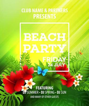 sunny beach: Summer Beach Party Vector Flyer Template.