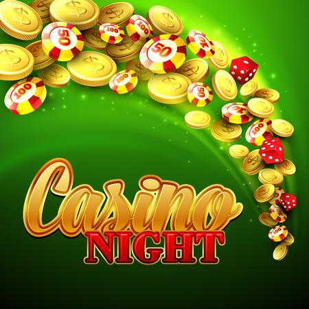 ruleta casino: Fondo del casino con fichas, dados y dinero. Ilustraci�n vectorial