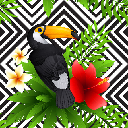 tropical pattern with toucan and hibiscus