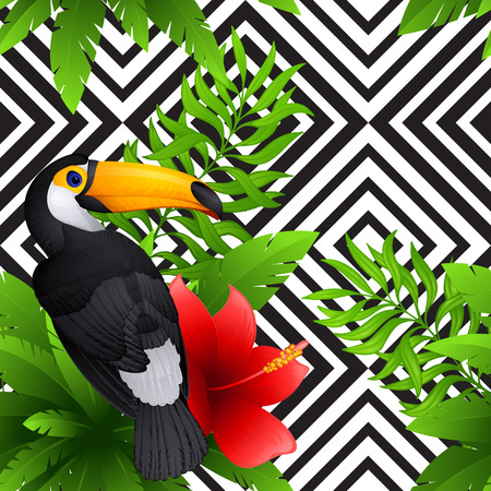 animal: tropical pattern with toucan and hibiscus
