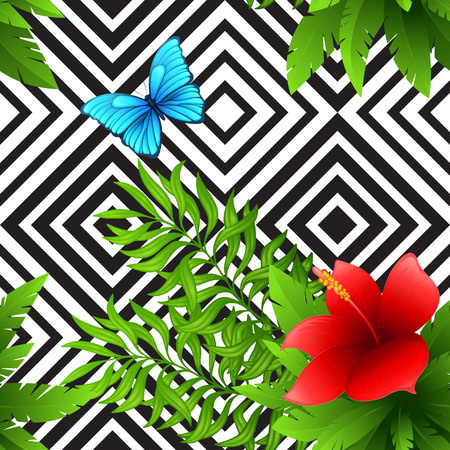 animal pattern: hibiscus and palm leaves tropical pattern