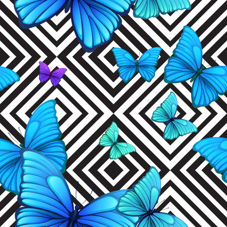 seamless pattern with blue butterfly