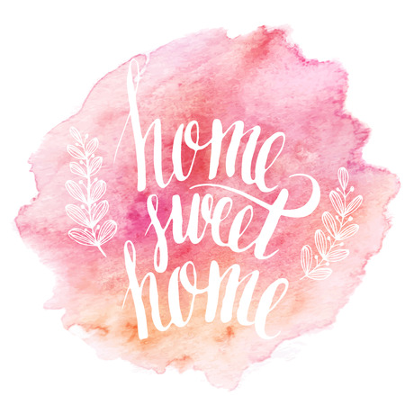 Home sweet home hand drawn inspiration lettering quote  イラスト・ベクター素材