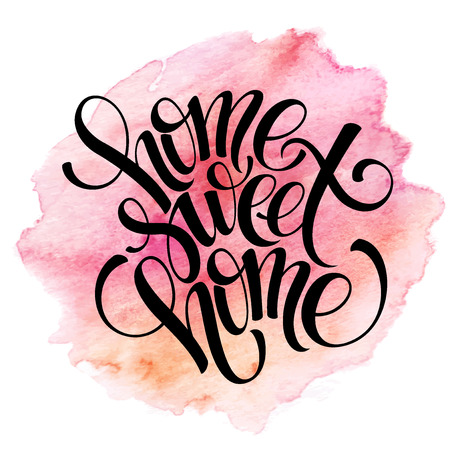 Home sweet home hand drawn inspiration lettering quote Illustration