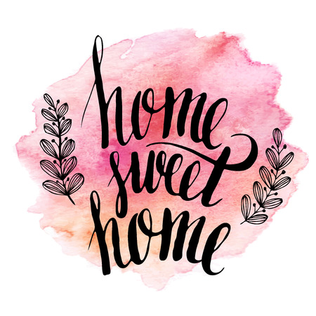 sweet: Home sweet home hand drawn inspiration lettering quote Illustration