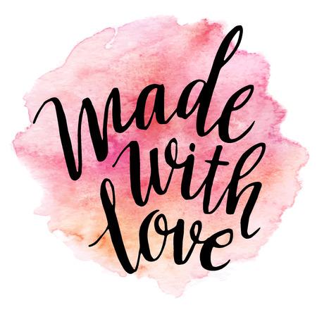love wallpaper: Hecho con amor letras acuarela Vectores