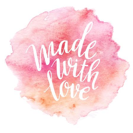 colores pastel: Hecho con amor letras acuarela Vectores