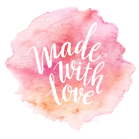 pastel background: Made with love watercolor lettering