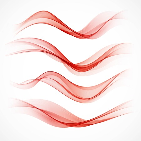 red wave: Set of wavy red banners Illustration
