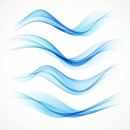 vague: Set de vagues bleues abstraites