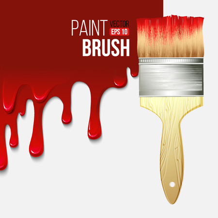 dripping paint: Paintbrushes with dripping paint