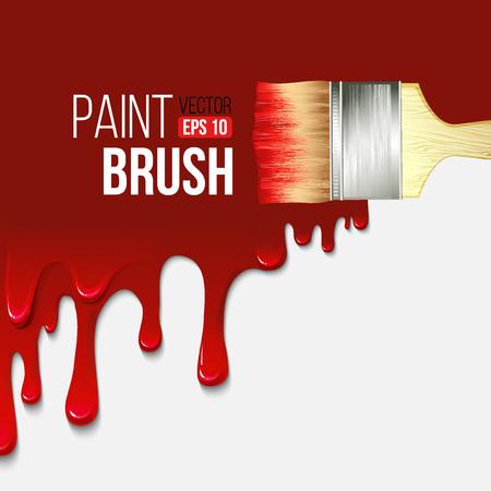 ペイント ブラシと塗料の垂れ  イラスト・ベクター素材