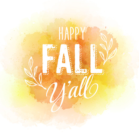 fall leaves: autumn label on watercolor background Illustration