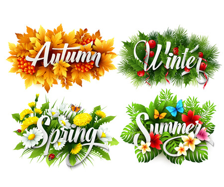 fall winter: Four Seasons Typographic Banner Illustration