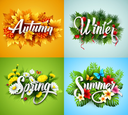 four season: Four Seasons Typographic Banner Illustration