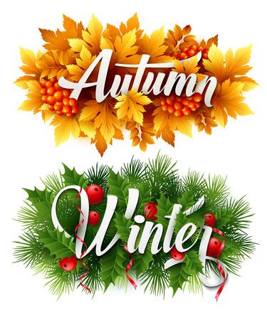 autumn scene: Autumn and Winter Typographic Banner