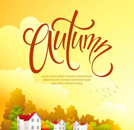 autumn scene: Autumn rural landscape Illustration