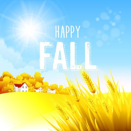 yellow hills: Autumn rural landscape Illustration