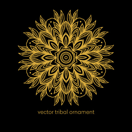 black wallpaper: Ethnic decorative elements - Mandala Illustration