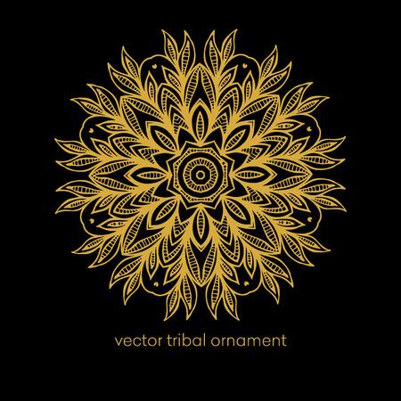 schwarz: Ethnische dekorative Elemente - Mandala Illustration