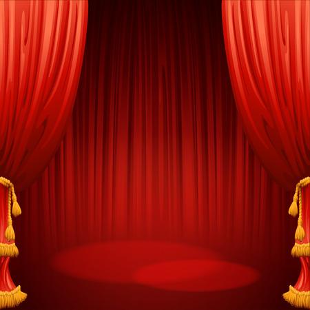Theater Bühne mit rotem Vorhang Standard-Bild - 42441549