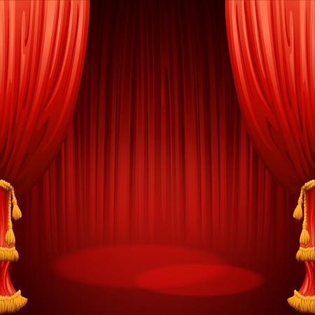 movie theater: Theater stage with red curtain